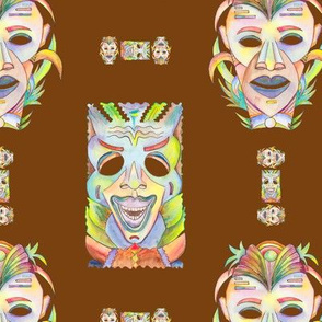 WATERCOLOR TIKI MASKS BROWN