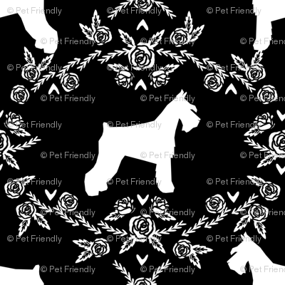 Schnauzer floral silhouette minimal dog breed fabric black and white
