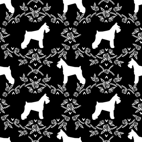 Schnauzer floral silhouette minimal dog breed fabric black and white fabric by petfriendly on Spoonflower - custom fabric