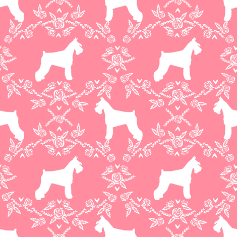 Schnauzer floral silhouette minimal dog breed fabric flamingo fabric by petfriendly on Spoonflower - custom fabric