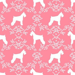 Schnauzer floral silhouette minimal dog breed fabric flamingo