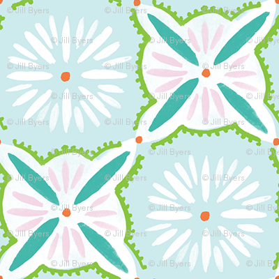 Daisy Tile - Blue Turquoise Pink