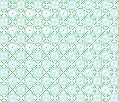 Daisy Tile - Blue Turquoise Pink fabric by jillbyers on Spoonflower - custom fabric
