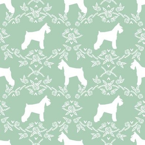 Schnauzer floral silhouette minimal dog breed fabric mint