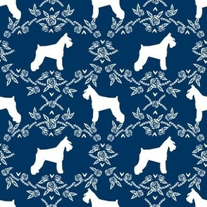 Schnauzer floral silhouette minimal dog breed fabric navy