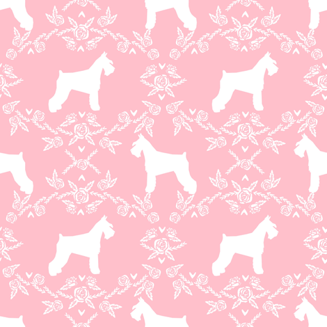 Schnauzer floral silhouette minimal dog breed fabric pink fabric by petfriendly on Spoonflower - custom fabric