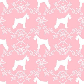 Schnauzer floral silhouette minimal dog breed fabric pink