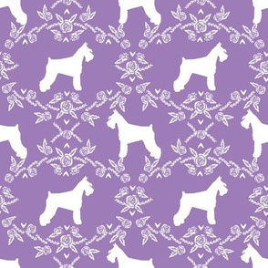 Schnauzer floral silhouette minimal dog breed fabric purple
