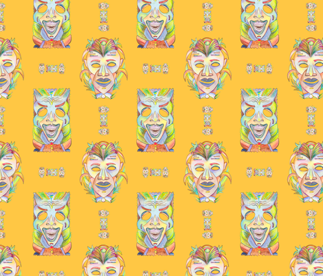 WATERCOLOR TIKI MASKS MARIGOLD YELLOW fabric by paysmage on Spoonflower - custom fabric