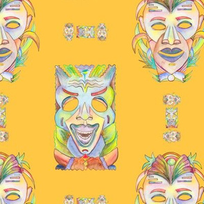 WATERCOLOR TIKI MASKS MARIGOLD YELLOW