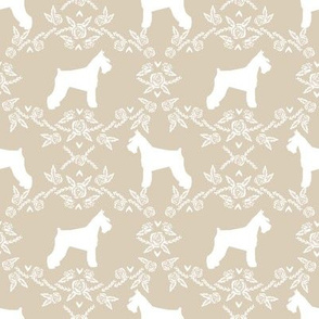 Schnauzer floral silhouette minimal dog breed fabric sand