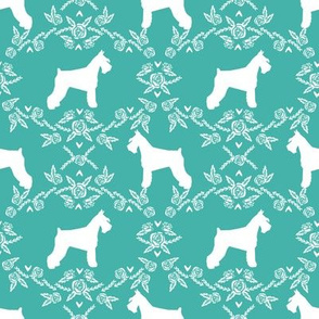 Schnauzer floral silhouette minimal dog breed fabric turquoise