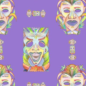 WATERCOLOR TIKI MASKS mauve lilac