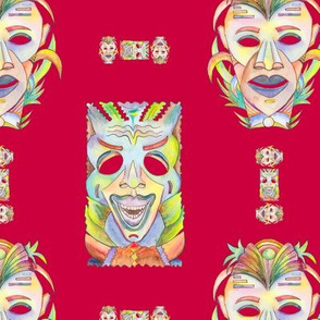 WATERCOLOR TIKI MASKS RED