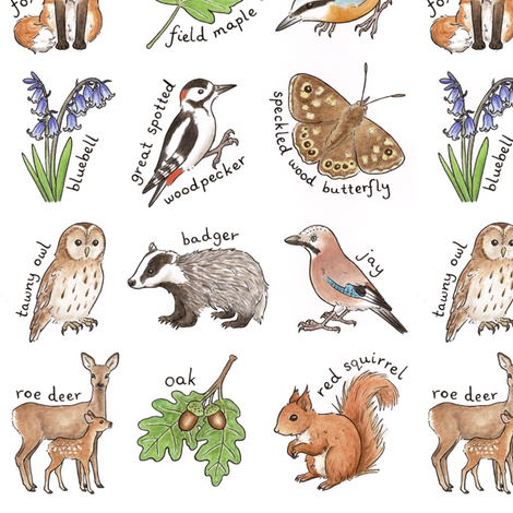 British Woodland Wildlife fabric by hazel_fisher_creations on Spoonflower - custom fabric