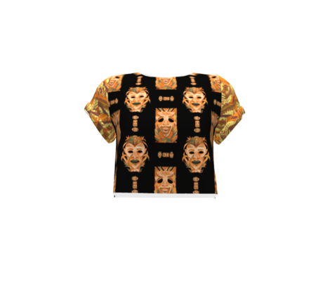 ORANGE OCHER TIKI MASKS ON BLACK