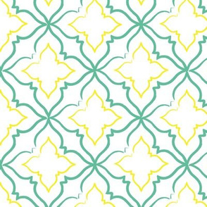 Alhambra Teal and Yellow Tile Pattern