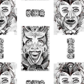 TIKI MASKS VIGNETTES GREY GRAY Black and white