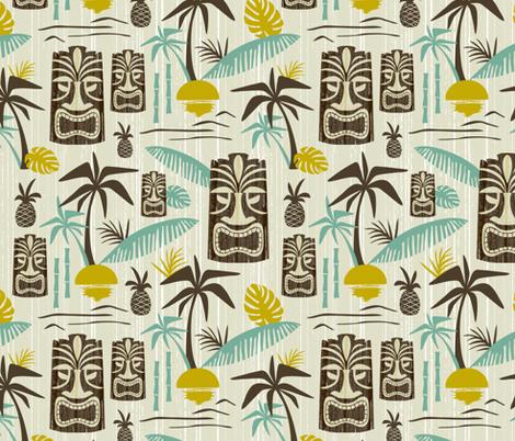 Island Tiki - Tan fabric by heatherdutton on Spoonflower - custom fabric