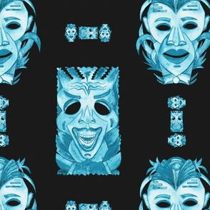 WATERCOLOR TIKI MASKS TEAL INDIGO TIKI ON BLACK