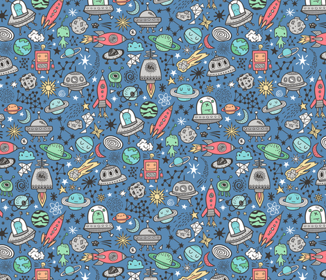 Space Galaxy Universe Doodle with Aliens, Rockets, Planets, Robots & Stars on Dark Blue Navy fabric by caja_design on Spoonflower - custom fabric