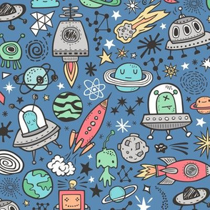 Space Galaxy Universe Doodle with Aliens, Rockets, Planets, Robots & Stars on Dark Blue Navy