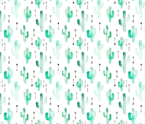 Watercolor western desert cactus illustration indian summer theme with arrows in tropical green for girls and boys fabric by littlesmilemakers on Spoonflower - custom fabric
