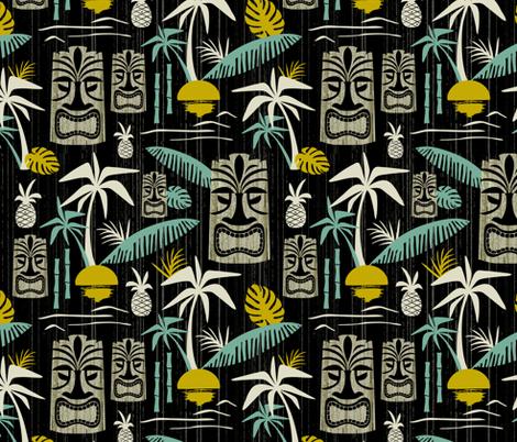 Island Tiki - Black fabric by heatherdutton on Spoonflower - custom fabric