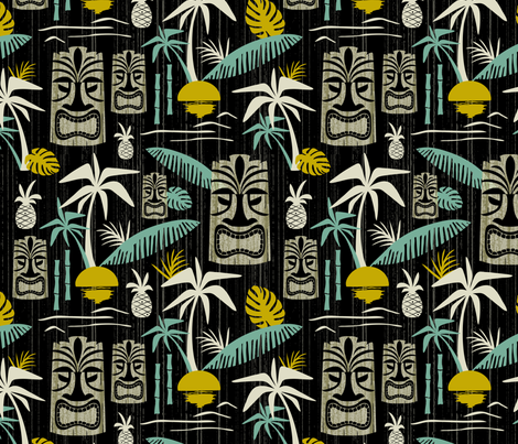 Island Tiki - Black fabric by heatherdutton on Spoonflower - custom fabric