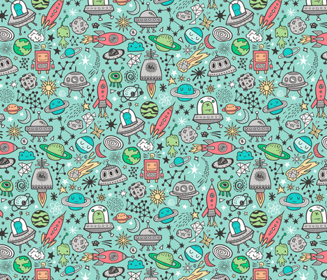 Space Galaxy Universe Doodle with Aliens, Rockets, Planets, Robots & Stars on Mint Green fabric by caja_design on Spoonflower - custom fabric