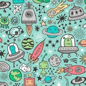 Space Galaxy Universe Doodle with Aliens, Rockets, Planets, Robots & Stars on Mint Green