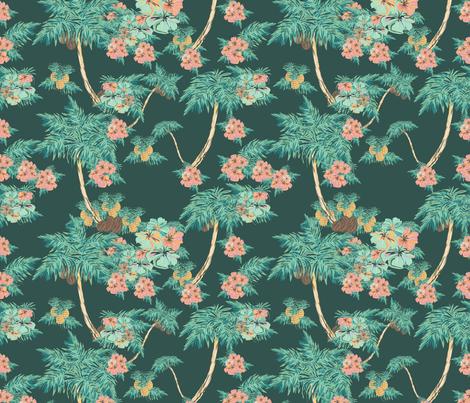 hawaii pattern dark fabric by arrpdesign on Spoonflower - custom fabric