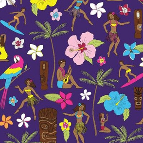 Retro Hawaii Tiki - Purple