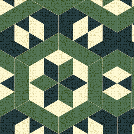 Textured Green Hexagons and Diamonds fabric by eclectic_house on Spoonflower - custom fabric