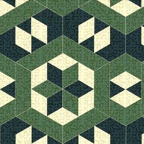 Textured Green Hexagons and Diamonds