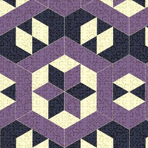 Textured Purple Hexagons and Diamonds