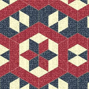 Textured Red and Blue Hexagons and Diamonds