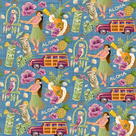 Blue_Hawaii_half_drop fabric by julistyle on Spoonflower - custom fabric