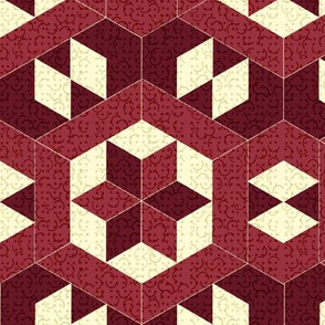 Textured Burgundy Hexagons and Diamonds
