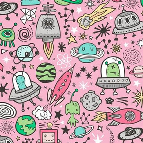 Space Galaxy Universe Doodle with Aliens, Rockets, Planets, Robots & Stars on Pink