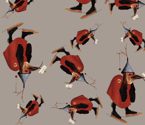 Hieronymus Bosch ~The Skating Bird ~ Large  fabric by peacoquettedesigns on Spoonflower - custom fabric