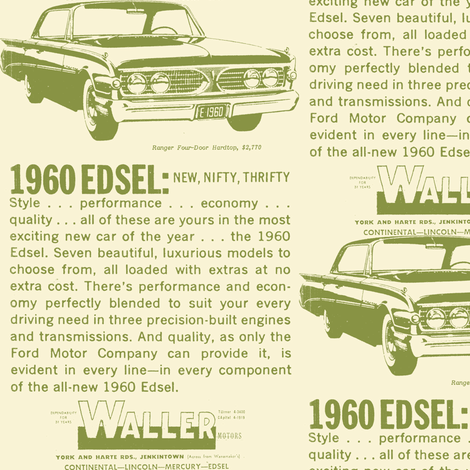Waller Motors 1960 Edsel Ranger ad Jenkintown PA fabric by edsel2084 on Spoonflower - custom fabric