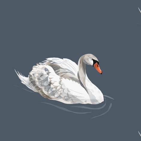 Lovely Swan on Blue fabric by taraput on Spoonflower - custom fabric
