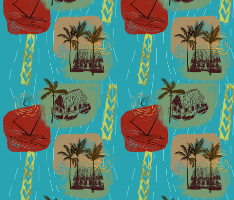 Tiki Village fabric by stephanie_gobby on Spoonflower - custom fabric