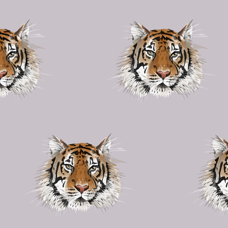 Small Tiger Face on Lilac Grey fabric by taraput on Spoonflower - custom fabric