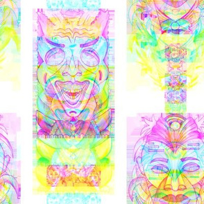 RAINBOW POP ART TIKI PINK YELLOW