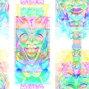 RAINBOW POP ART TIKI GREEN BLUE