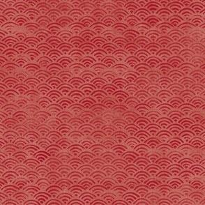 Japanese Block Print Pattern of Ocean Waves | Japanese Waves Pattern in Red Ochre, Red Boho Print, Beach Fabric.