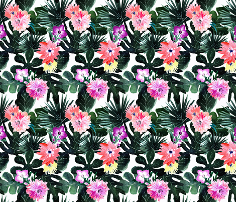 Lush Tropical Floral - Small fabric by crystal_walen on Spoonflower - custom fabric