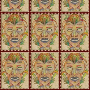 VINTAGE SERIOUS TIKI POSTAGE STAMP ON BEIGE BURGUNDY